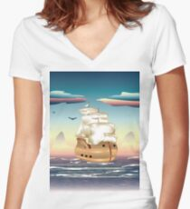 Old sailing ship on the open ocean at sunset 3 Women's Fitted V-Neck T-Shirt