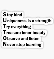 Sutton Foster - Life Lessons Acrostic | White Sticker