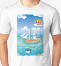 Wooden Ship in the Sea 2 T-Shirt