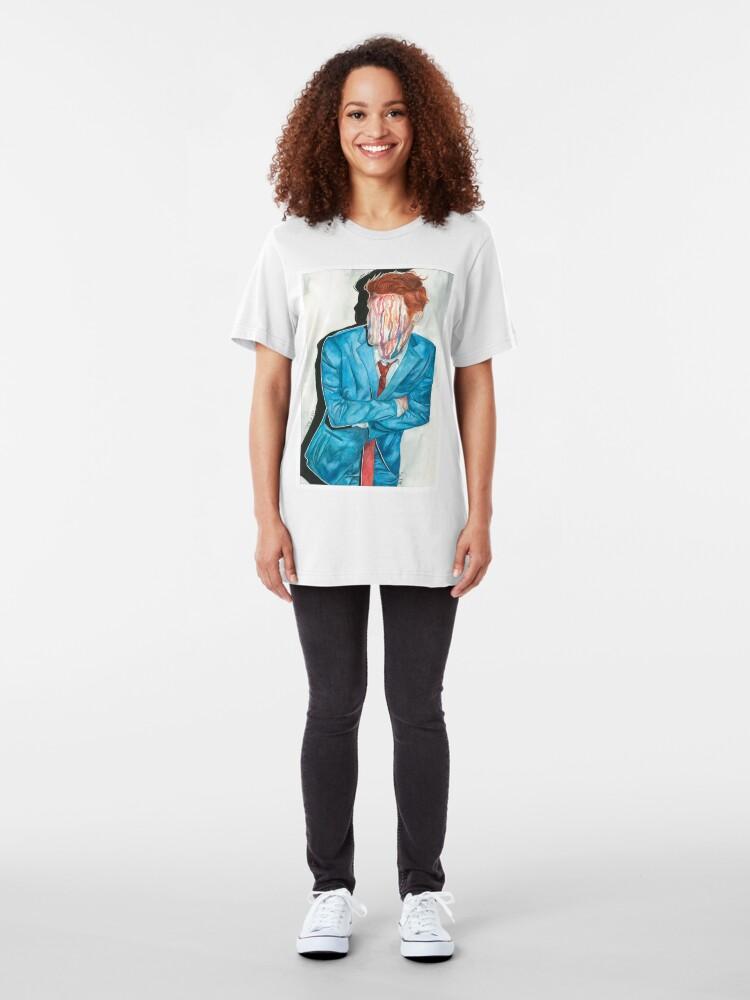 Alternate view of gerard way drip portrait Slim Fit T-Shirt