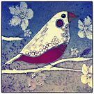 Finch among the cherry blossoms by trishie