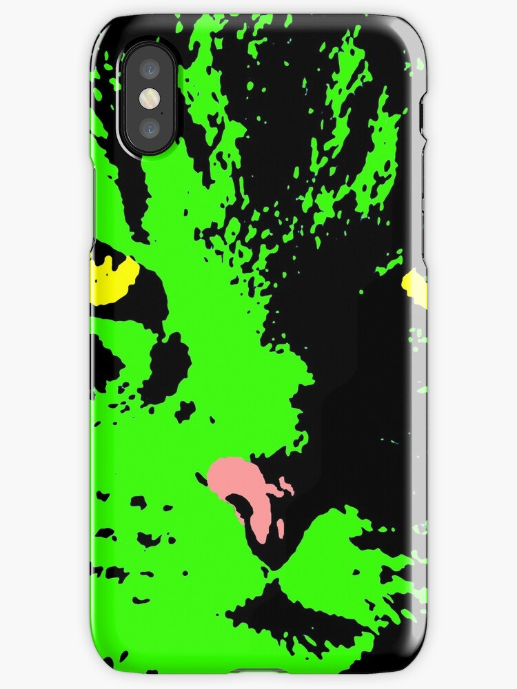 ANGRY CAT POP ART - GREEN BLACK YELLOW TRASPARENT by NYWA-ART