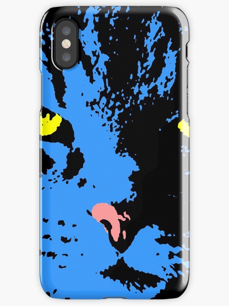 ANGRY CAT POP ART - BLUE YELLOW BLACK TRASPARENT by NYWA-ART