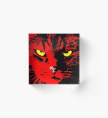 ANGRY CAT POP ART - RED YELLOW BLACK Acrylic Block
