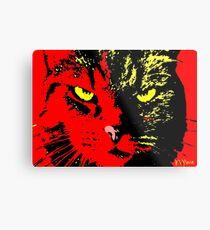 ANGRY CAT POP ART - YELLOW BLACK RED Metal Print