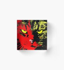 ANGRY CAT POP ART - YELLOW BLACK RED Acrylic Block
