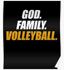 God Family Volleyball - Volley Sports Family Ball Game Hobby Spike Poster