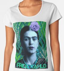Frida Kahlo - At the Beach In Front of the Green Palmas (V1) Women's Premium T-Shirt