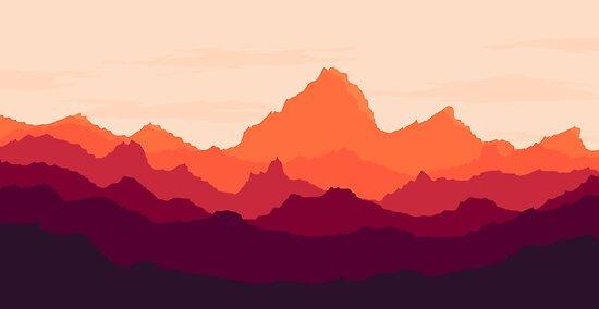 «Orange Sunset - Firewatch inspirado» de chrismottram