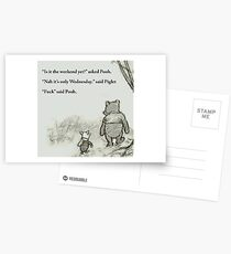 Is it the weekend yet? Pooh and Piglet cartoon Postcards