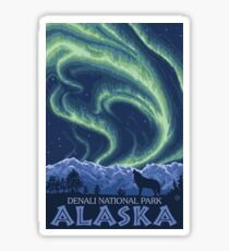 Denali National Park Northern Lights Vintage Travel Decal Sticker