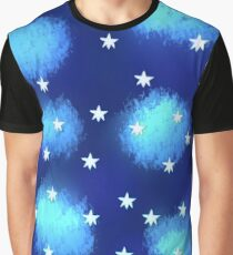 Blue Clouds and Stars Graphic T-Shirt