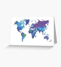 World Map Colourful Greeting Card