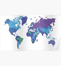 World Map Colourful Poster