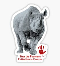 Black Rhino | Stop Poachers, Extinction is Forever Sticker