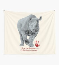 Black Rhino | Stop Poachers, Extinction is Forever Wall Tapestry