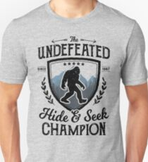 Bigfoot Undefeated Hide and Seek Champion Sasquatch T Shirt Unisex T-Shirt