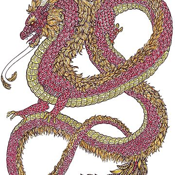 Zentangle Art Red Chinese Dragon by TemplemanArt