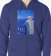 Greek blue gate with wandering clouds Zipped Hoodie