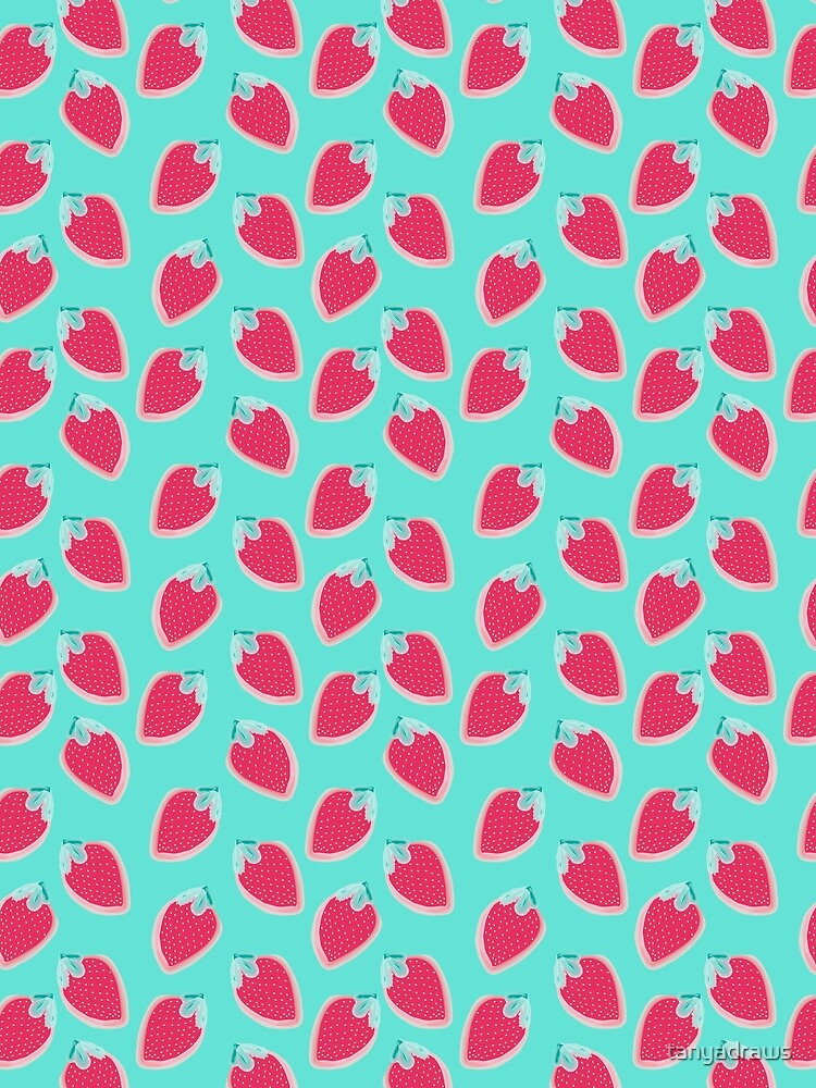 Strawberries Fruit Pattern by tanyadraws