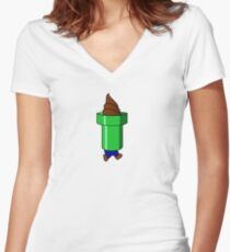 Bad Yoshi Ice Cream Cone Women's Fitted V-Neck T-Shirt