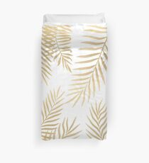 Gold palm leaves Duvet Cover