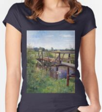 Hugo Darnaut Summer Landscape with Bridge Women's Fitted Scoop T-Shirt