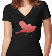 RED METALIC BIRD Women's Fitted V-Neck T-Shirt
