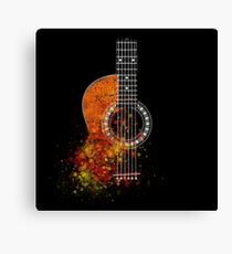 Grunge Watercolor Splatter Guitar Canvas Print