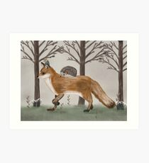 the fox the hedgehog and little field mouse Art Print
