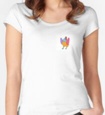dancing chicken (black outline) Women's Fitted Scoop T-Shirt