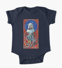 Susan - Alien Floating Brain Robot Holding Ray Gun from Hand-Colored Linocut Print Original Kids Clothes
