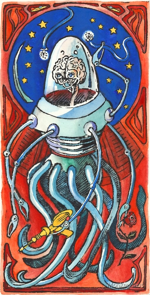 Susan - Alien Floating Brain Robot Holding Ray Gun from Hand-Colored Linocut Print Original by Monkeynaut