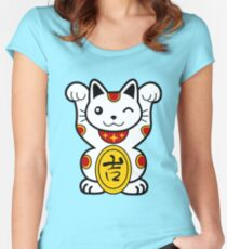 Lucky Cat Women's Fitted Scoop T-Shirt