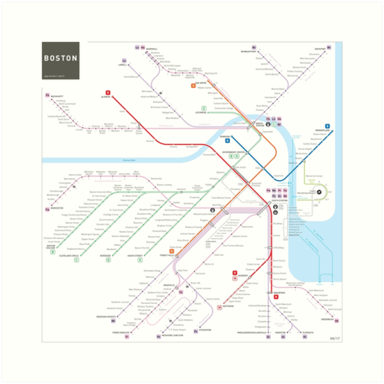 Boston metro subway map by Jug Cerovic