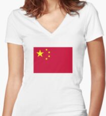 China flag Women's Fitted V-Neck T-Shirt