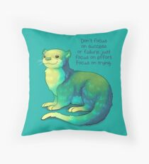 """""""Focus on Trying"""" River Otter Throw Pillow"""