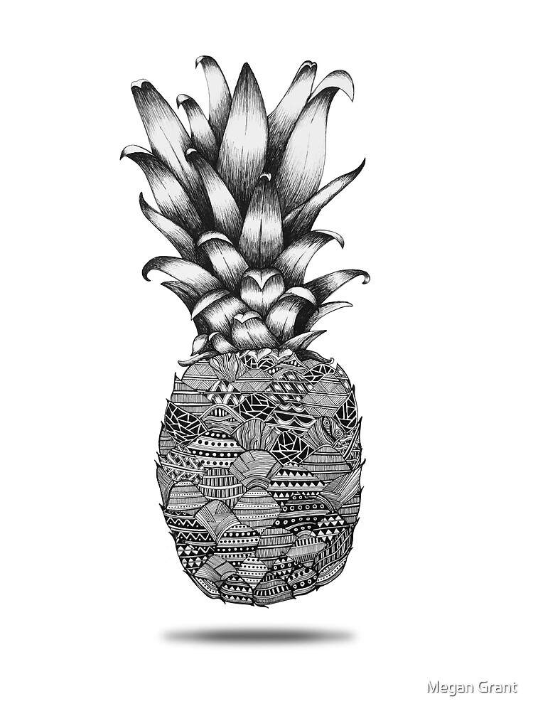 Pineapple line Drawing by Megan Grant
