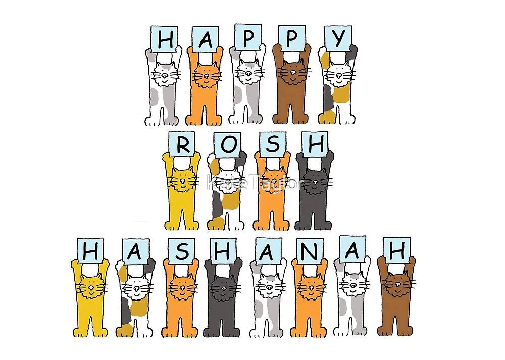 Happy Rosh Hashanah Cartoon Cats by KateTaylor