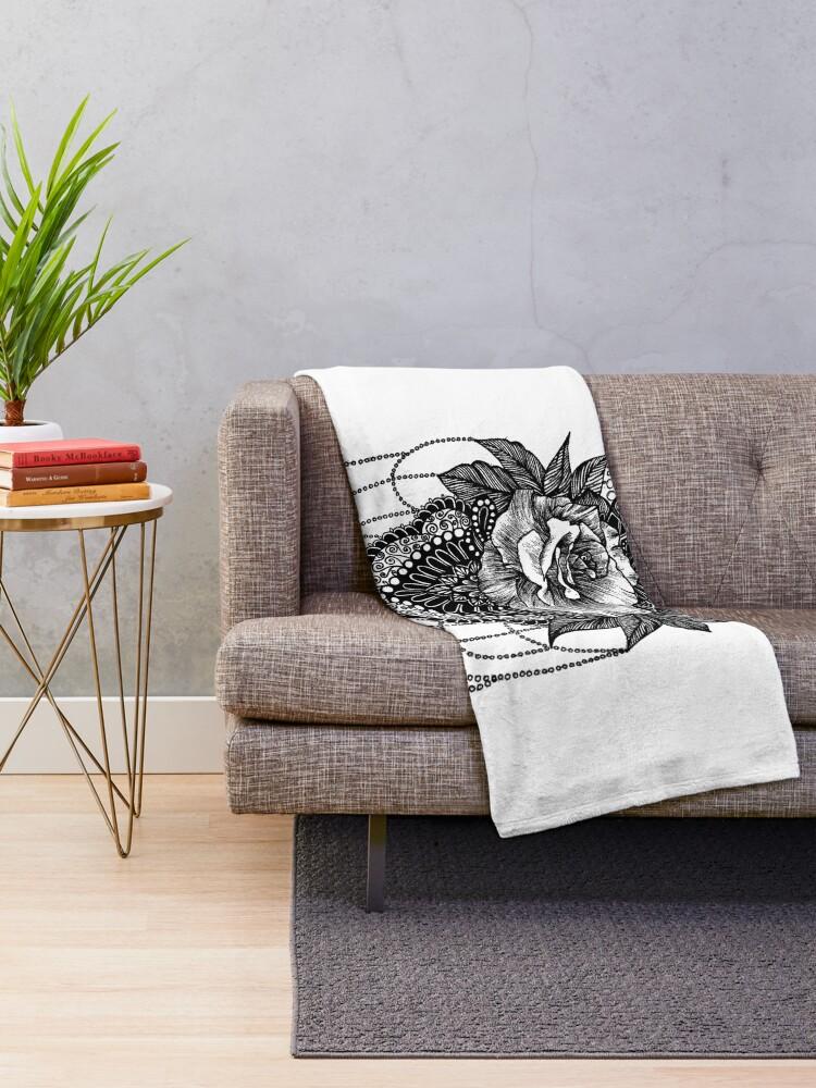 Alternative Ansicht von Rosen-Mandala Fleecedecke