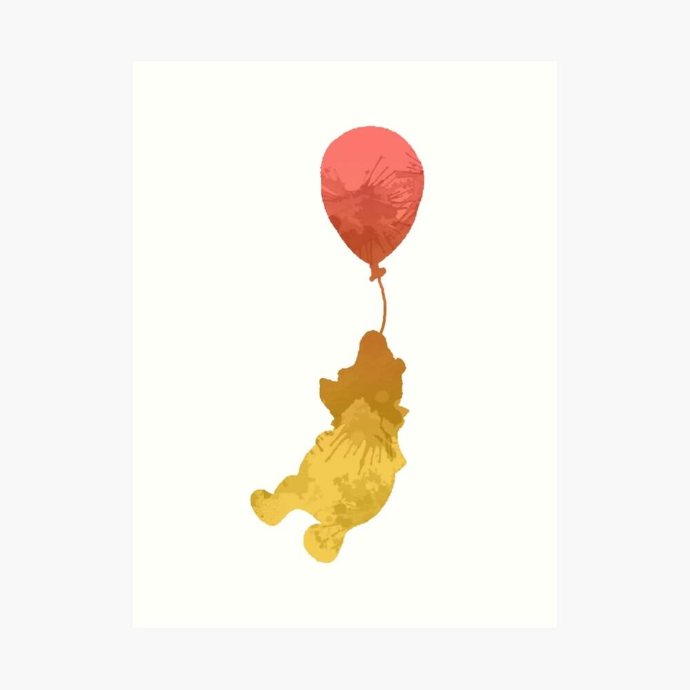 Bär und Ballon inspirierte Silhouette Kunstdruck