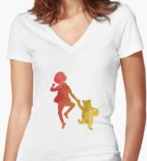 Boy and Bear Inspired Silhouette Women's Fitted V-Neck T-Shirt