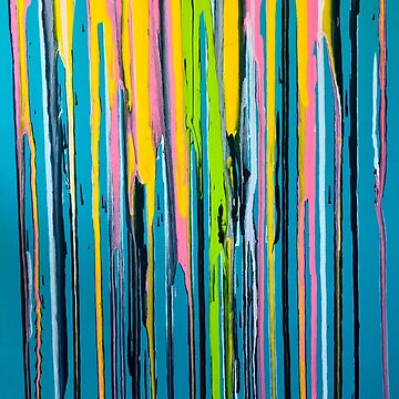 Rainbow Drips on Teal by scaredgirl