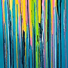 Rainbow Drips on Teal by Linda Cleary