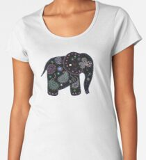 black embroidered elephant Women's Premium T-Shirt