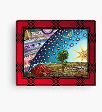 Flammarion Woodcut Flat Earth Design 2017 Crimson Canvas Print