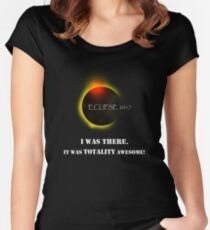 Total Solar Eclipse August 21 2017 Graphic T-Shirt I was there it was totality awesome T-Shirt Women's Fitted Scoop T-Shirt