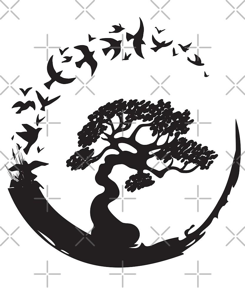 Bonsai Tree in Enso Circle Birds  by MasartDesigns