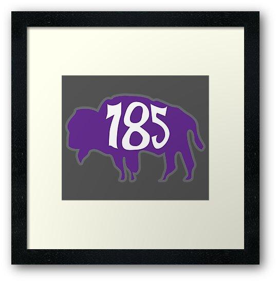 Hand Drawn Kansas Buffalo 785 Purple Gray White by itsrturn