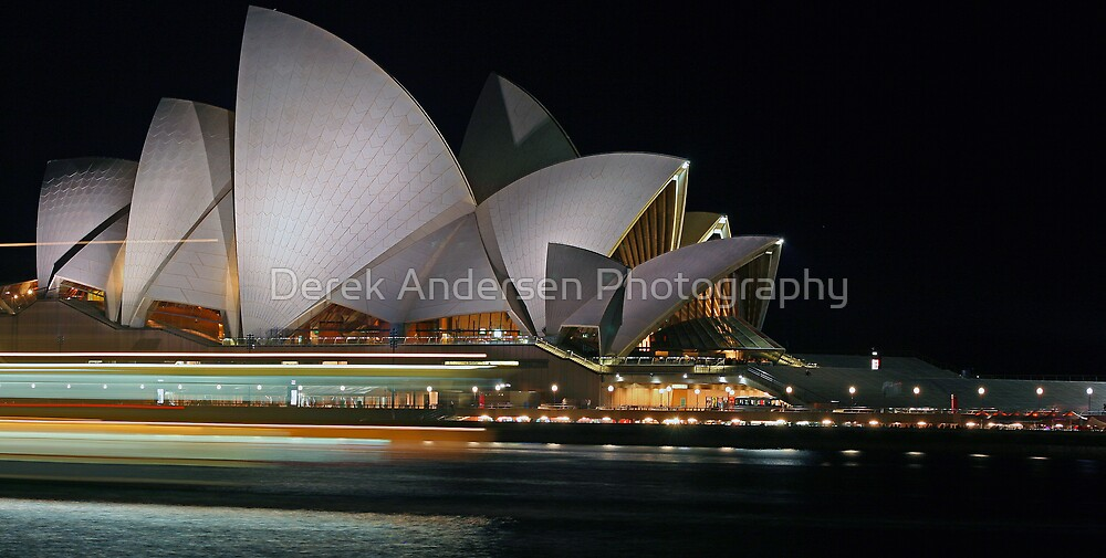 Opera House - Speeding Ferry at the Opera  by Derek Andersen Photography